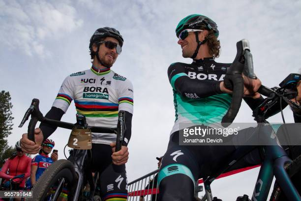 Peter Sagan of Slovenia riding for the Bora Hansgrohe team and Daniel Oss of Italy riding for the Bora- Hansgrohe team at the start of the Sagan...