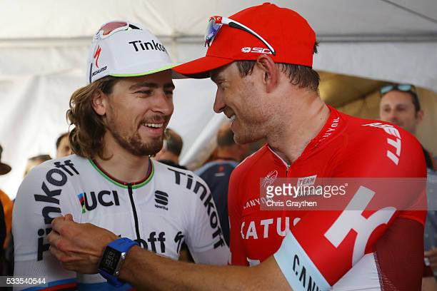 Peter Sagan of Solvakia riding for Tinkoff talks with Alexander Kristoff of Norway riding for Team Katusha following stage 8 of the Amgen Tour of...