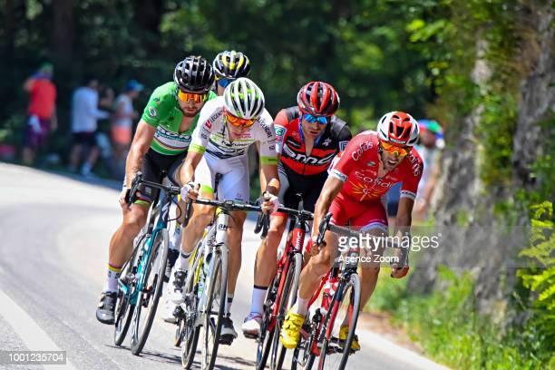 Peter Sagan of team BORA Warren Barguil of team FORTUNEOSAMSIC during the stage 11 of the Tour de France 2018 on July 18 2018 in Albertville France