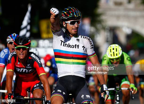 Peter Sagan of Team Tinkoff celebrates after winning thee Grand Prix Cycliste de Quebec on September 9 2016 in Quebec City Quebec Canada