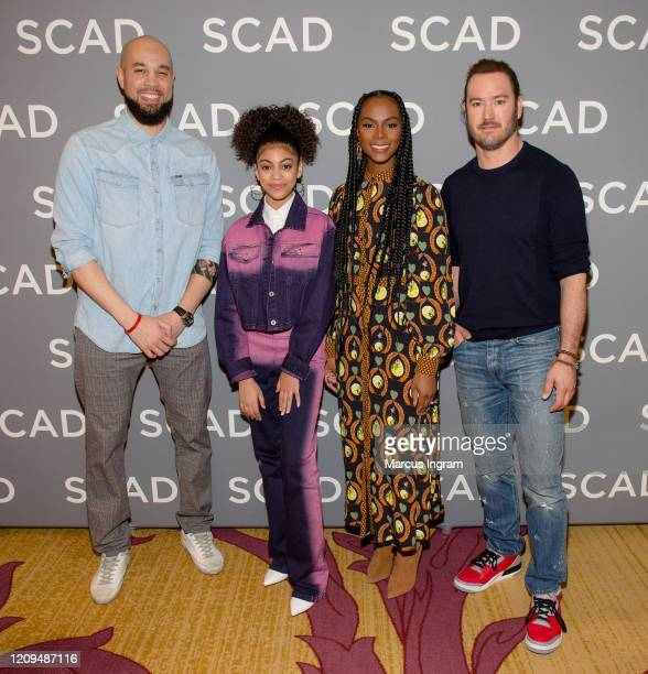 Peter Saji Arica Himmel Tika Sumpter and MarkPaul Gosselaar attend the SCAD 8th annual aTVFest Day 3 press junket at Four Season Hotel Atlanta on...