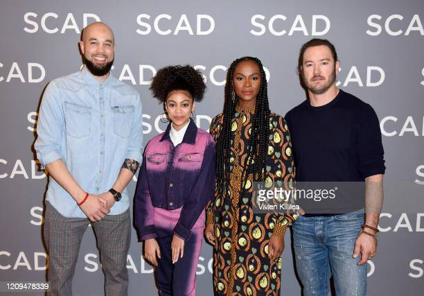 Peter Saji Arica Himmel Tika Sumpter and MArkPaul Gosselaar attends the SCAD aTVfest 2020 Mixedish on February 29 2020 in Atlanta Georgia