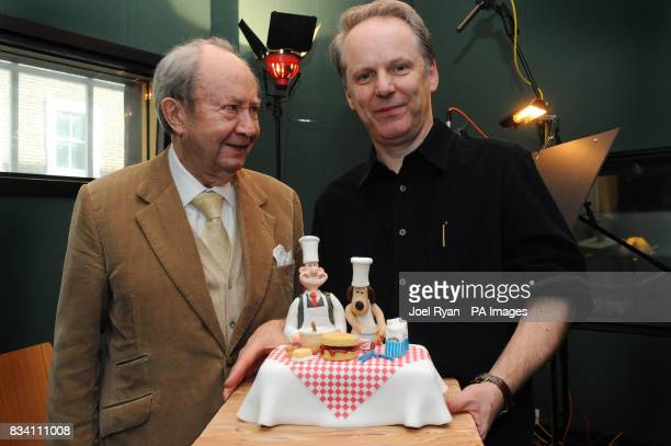 Peter Sallis is presented with a suprise birthday cake by Wallace Gromit creator Nick Park on the occasion of his 87th birthday whilst in the studio...