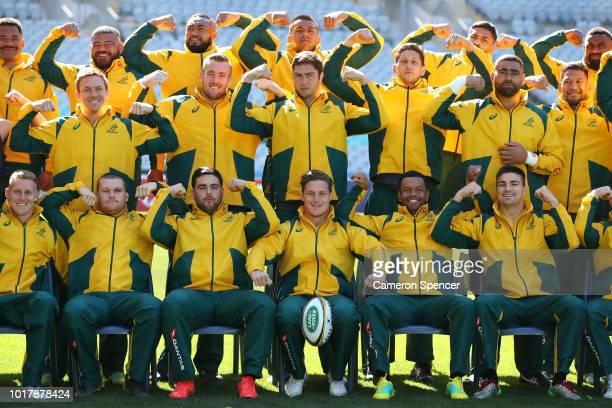 Peter Samu of the Wallabies and team mates warm up during an Australian Wallabies captain's run at ANZ Stadium on August 17 2018 in Sydney Australia