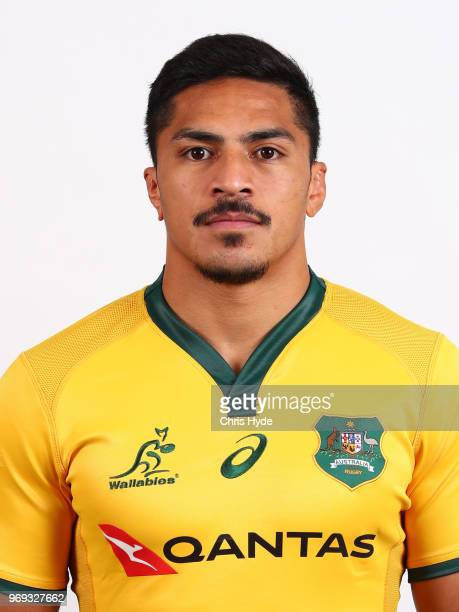 Peter Samu poses during the Australian Wallabies headshot session on May 7 2018 in Gold Coast Australia