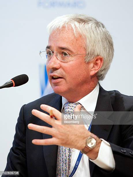 Peter Sands, chief executive officer of Standard Chartered Plc, listens at a conference hosted by South Korea's government and the International...