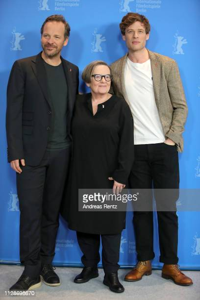 Peter Sarsgaard Agnieszka Holland and James Norton pose at the Mr Jones photocall during the 69th Berlinale International Film Festival Berlin at...