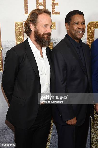 Peter Sarsgaard and Denzel Washington attend The Magnificent Seven premiere at Museum of Modern Art on September 19 2016 in New York City