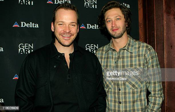 """Peter Sarsgaard and Ebon Moss-Bachrach during 2007 Sundance Film Festival - """"High Falls"""" Party at the Delta Sky Lodge at Delta Sky Lounge in Park..."""
