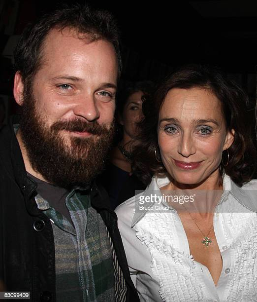 Peter Sarsgaard and Kristin Scott Thomas pose at The Opening Night of The Seagull at the Walter Kerr Theatre on October 2 2008 in New York City New...