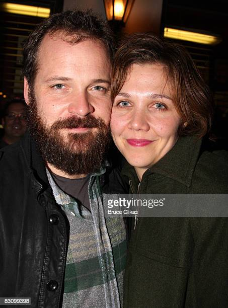 Peter Sarsgaard and Maggie Gyllenhaal pose at The Opening Night After party for The Seagull at the Walter Kerr Theatre on October 2 2008 in New York...
