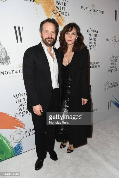 Peter Sarsgaard and Maggie Gyllenhaal toast to the Hudson Theatre reopening with Moët Chandon at the Hudson Theatre on February 23 2017 in New York...