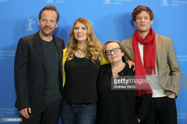 Peter Sarsgaard Andrea Chalupa Agnieszka Holland and James Norton pose at the Mr Jones photocall during the 69th Berlinale International Film...