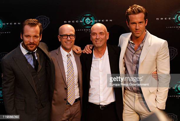 Peter Sarsgaard Donald de Line Martin Campbell and Ryan Reynolds attend the premiere of 'Green Lantern' at Callao Cinema on July 21 2011 in Madrid...