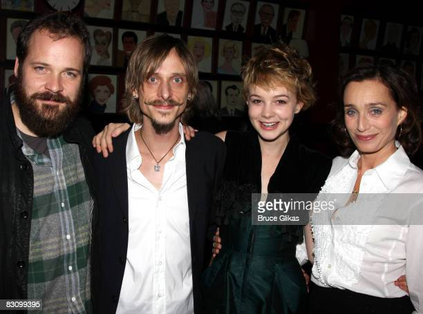 Peter Sarsgaard Mackenzie Crook Carey Mulligan and Kristin Scott Thomas pose at The Opening Night of The Seagull at the Walter Kerr Theatre on...