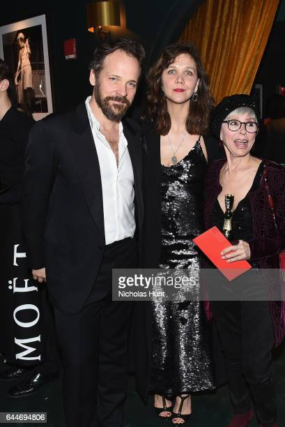 Peter Sarsgaard Maggie Gyllenhaal and Rita Moreno toast to the Hudson Theatre reopening with Moët Chandon at the Hudson Theatre on February 23 2017...