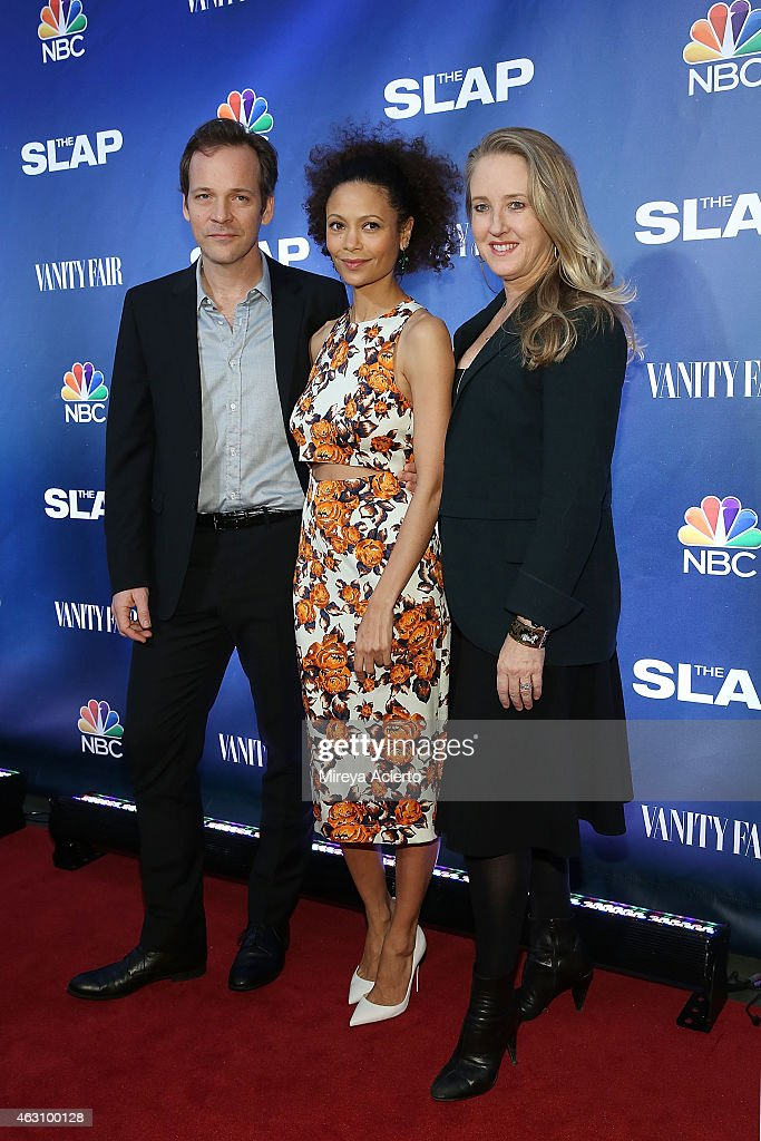 Peter Sarsgaard, Thandie Newton and NBC Entertainment president Jennifer Salke attend 'The Slap' New York Premiere Party at The New Museum on February 9, 2015 in New York City.