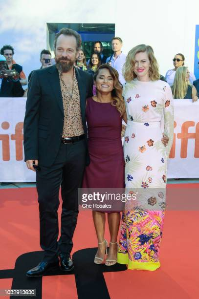 Peter Sarsgaard Veena Sud and Mireille Enos attend 'The Lie' premiere at Roy Thomson Hall on September 13 2018 in Toronto Canada