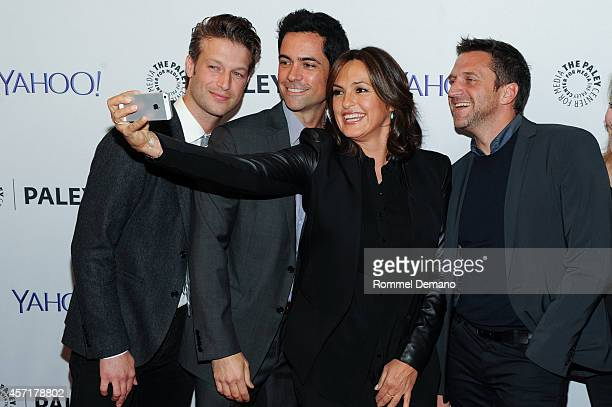 Peter Scanavino Danny Pino Mariska Hargitay and Raul Esparza attend the 2nd Annual Paleyfest New York Presents Law Order SVU' at Paley Center For...