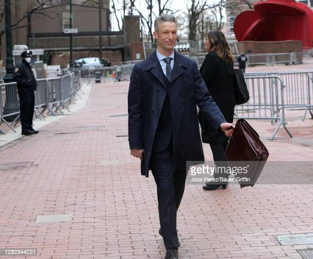 "Peter Scanavino is seen on the set of ""Law and Order: Special Victims Unit"" on April 16, 2021 in New York City."