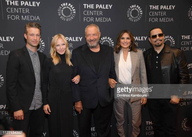 Peter Scanavino Kelli Giddish Dick Wolf Marishka Hargitay and IceT attend the Law Order SVU Television Milestone Celebration at The Paley Center for...