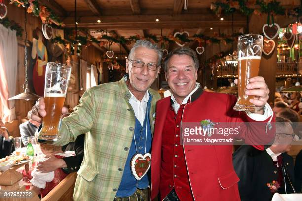 Peter Schaefer and Patrick Lindner during the Oktoberfest beer festival at Weinzelt at Theresienwiese on September 16 2017 in Munich Germany
