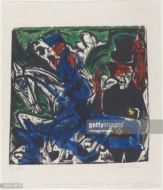 Peter Schlemihls wundersame Geschichte: Begegnung Schlemihls mit dem grauen M‰nnlein auf der Landstrasse , 1915. Artist Ernst Kirchner.