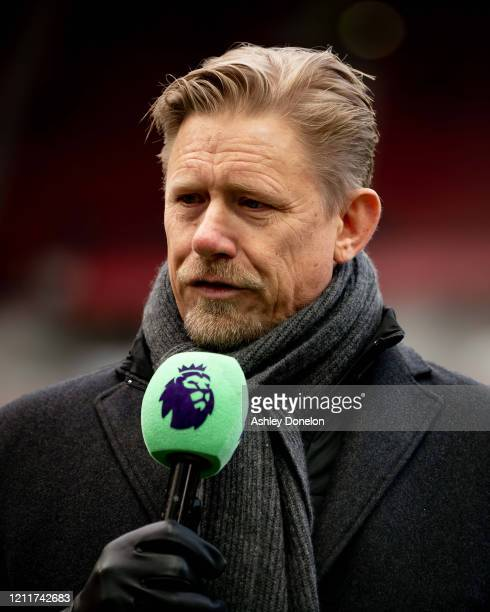 Peter Schmeichel broadcasts ahead of the Premier League match between Manchester United and Manchester City at Old Trafford on March 08 2020 in...