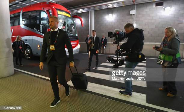 Peter Schmeichel of Denmark arrives ahead of the UEFA Nations League B group four match between Irland and Denmark at Aviva Stadium on October 13...