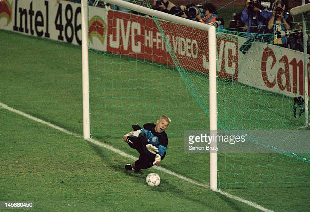Peter Schmeichel of Denmark saves the penalty kick in the shootout to send Denmark into the final during the UEFA European Championships 1992...