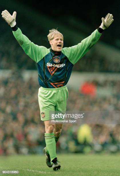 Peter Schmeichel of Manchester United celebrates during the FA Carling Premiership match between Leeds United and Manchester United at Elland Road on...