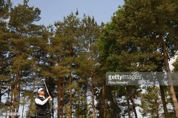 Peter Schmeichel tees off during the Pro Am for the BMW PGA Championship at Wentworth on May 23 2018 in Virginia Water England