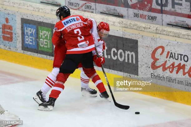 Peter Schneider od AUT and Jesper Jensen Aabo of Denmark during the Austria v Denmark - Ice Hockey International Friendly at Erste Bank Arena on May...