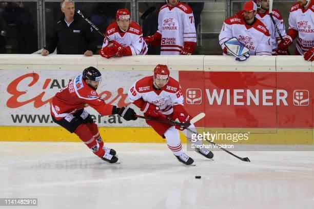 Peter Schneider od AUT and Mikkel Bodker of Denmark during the Austria v Denmark - Ice Hockey International Friendly at Erste Bank Arena on May 5,...