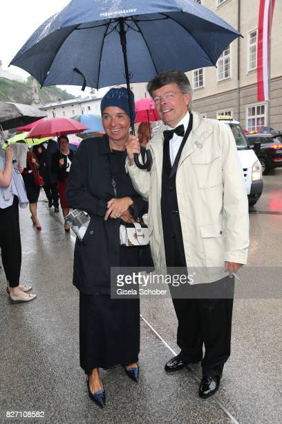 Peter Schwenkow and his wife Inga Griese-Schwenkow attend the 'Aida' premiere during the Salzburg Opera Festival 2017 on August 6, 2017 in Salzburg,...