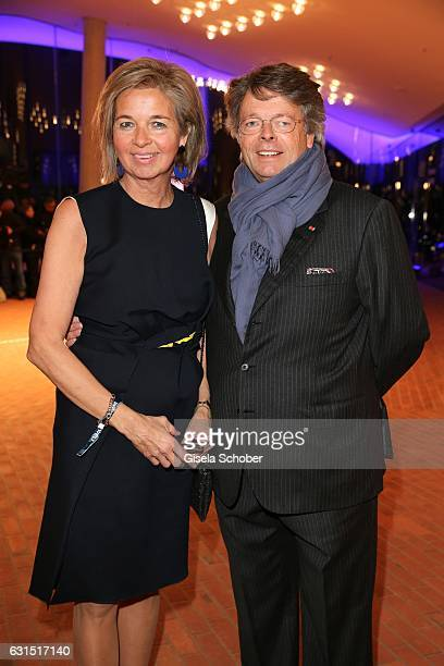 Peter Schwenkow and his wife Inga GrieseSchwenkow during the opening concert of the Elbphilharmonie concert hall on January 11 2017 in Hamburg Germany