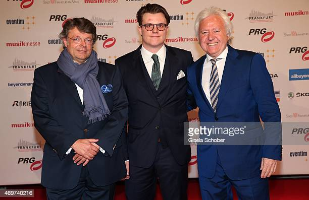Peter Schwenkow Ossy Hoppe and his son Oliver Hoppe during the LEA Live Entertainment Award 2015 at Festhalle Frankfurt on April 14 2015 in Frankfurt...