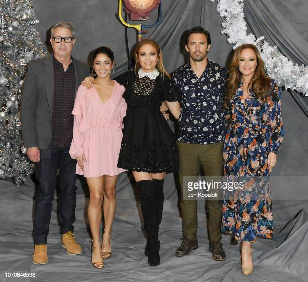 Peter Segal Vanessa Hudgens Jennifer Lopez Milo Ventimiglia and Leah Remini attend the photo call for STX Films' 'Second Act' at Four Seasons Hotel...