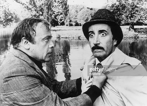 Peter Sellers and Herbert Lom starring in 'The Pink Panther Strikes Again' as the mishap prone Parisian Inspector Jacques Clouseau and Dreyfus