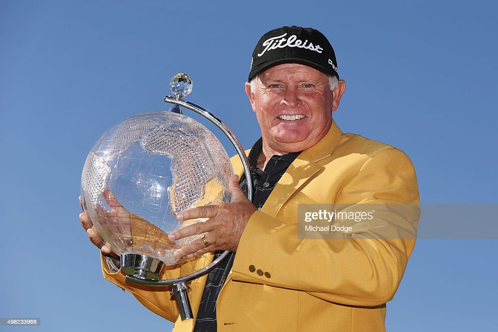 Peter Senior of Australia poses with the trophy after winning during the final round of the 2015 Australian Masters at Huntingdale Golf Club on November 22, 2015 in Melbourne, Australia.