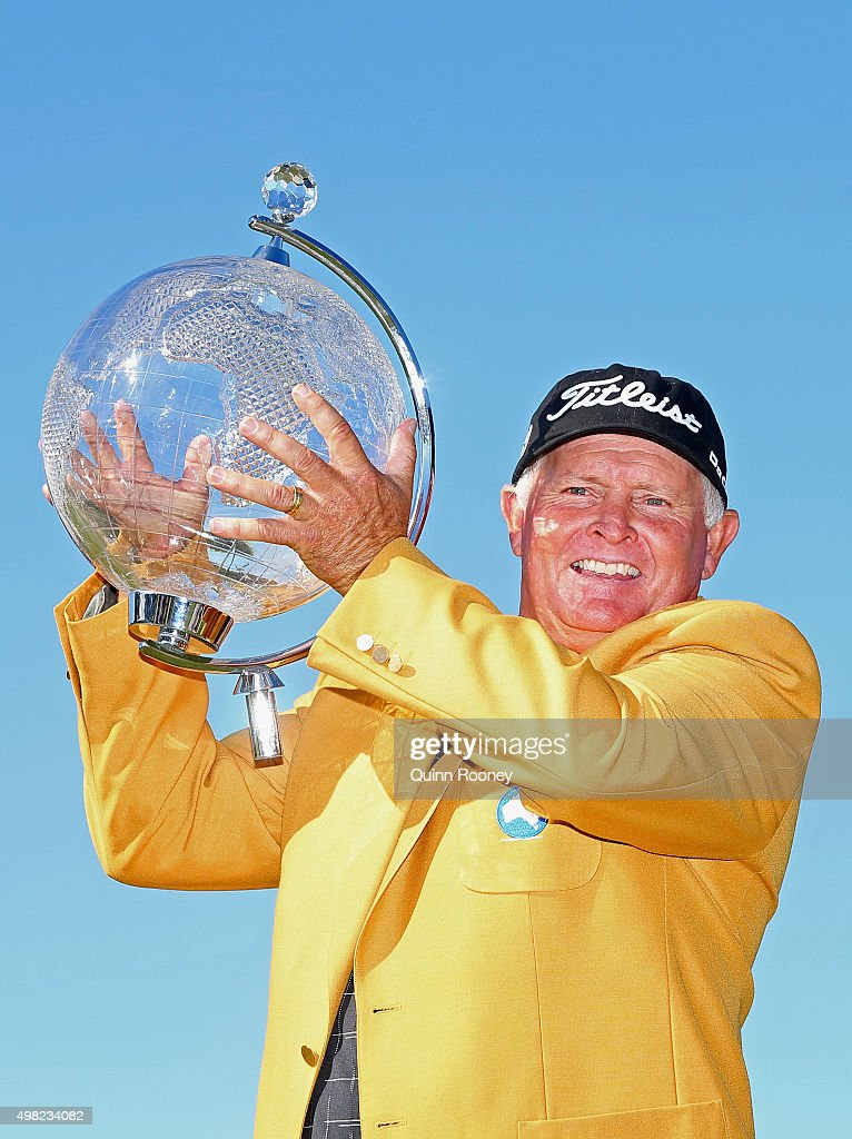 Peter Senior of Australia poses with the trophy during the final round of the 2015 Australian Masters at Huntingdale Golf Club on November 22, 2015 in Melbourne, Australia.