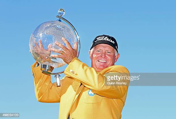 Peter Senior of Australia poses with the trophy during the final round of the 2015 Australian Masters at Huntingdale Golf Club on November 22, 2015...