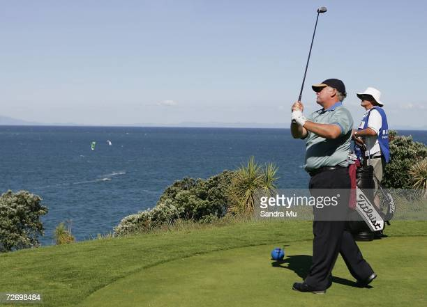 Peter Senior of Australia tees off on the 16th hole during round three of the New Zealand Open at Gulf Harbour Country Club on the Whangaparoa...