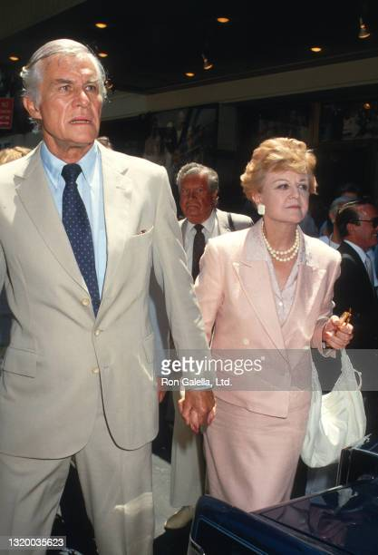Peter Shaw and Angela Lansbury attend Geraldine Page Memorial Service at the Neil Simon Theater in New York City on June 17, 1987.