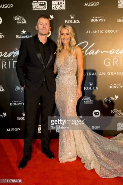 Peter Siddle and Anna Weatherlake attends the Glamour On The Grid party on March 11 2020 in Melbourne Australia
