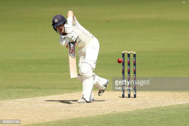 Peter Siddle bats during day one of the Sheffield Shield match between Victoria and New South Wales at Junction Oval on March 3 2018 in Melbourne...