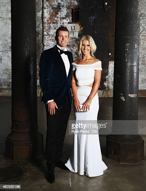 Peter Siddle of Australia and his partner Anna Weatherlake pose ahead of the 2015 Allan Border Medal at Carriageworks on January 27, 2015 in Sydney,...