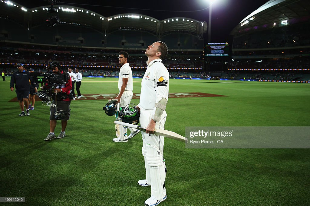 Peter Siddle of Australia and Mitchell Starc of Australia react after day three of the Third Test match between Australia and New Zealand at Adelaide Oval on November 29, 2015 in Adelaide, Australia.