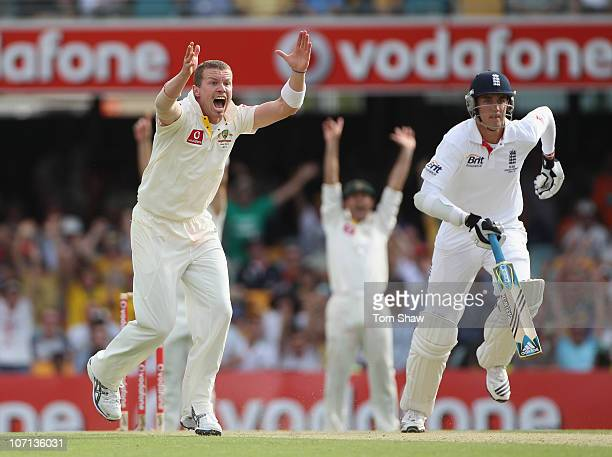 Peter Siddle of Australia appeals for and gets his hat-trick wicket that of Stuart Broad of England during day one of the First Ashes Test match...
