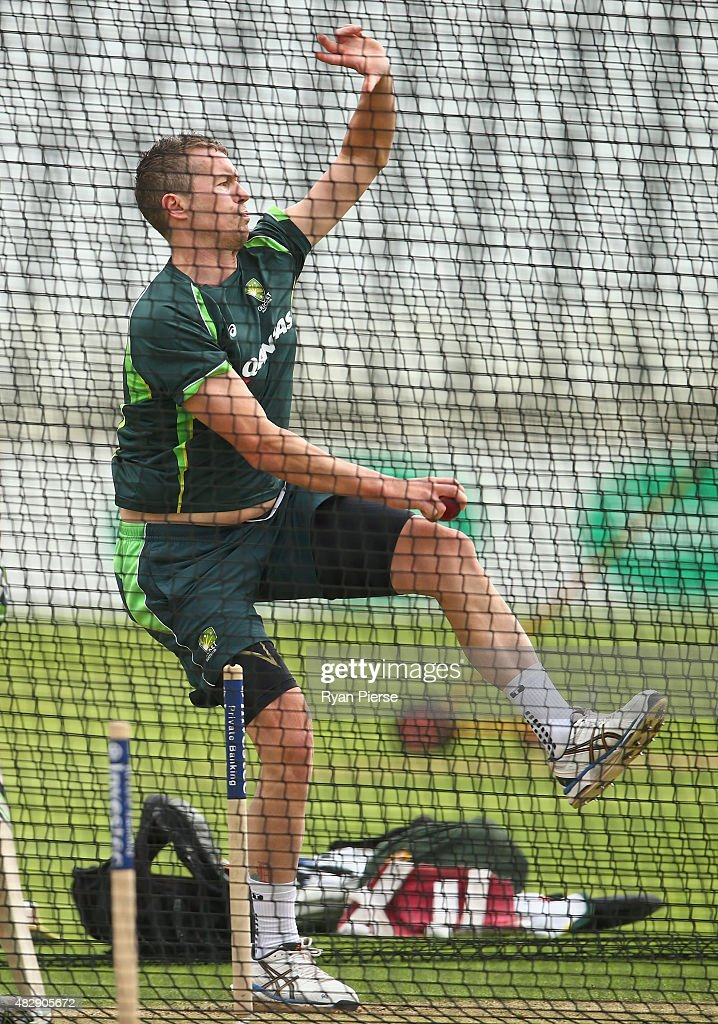 Peter Siddle of Australia bowls during a nets session ahead of the 4th Investec Ashes Test match between England and Australia at Trent Bridge on August 4, 2015 in Nottingham, United Kingdom.